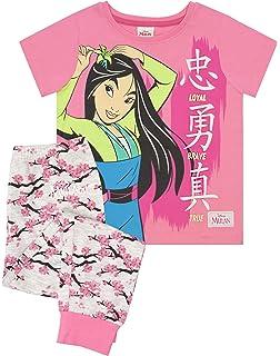 Disney Girls Mulan Short Pyjamas Kids Princess Shortie Pjs Set Nightwear