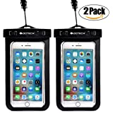 "Universal Waterproof Phone Case 2 Pack – Premium Quality Cell Phone Cellphone Dry Bag Pouch For Apple Iphone Samsung HTC LG Sony Nokia Motorola And Other Smartphones Up To 6.0""-Black"