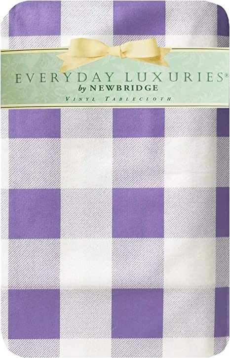 Amazon Com Newbridge Farmhouse Buffalo Check Cottage Style Checkered Print Vinyl Flannel Backed Tablecloth Pastel Gingham Summer Indoor Outdoor Easy Care Vinyl Tablecloth 60 X 84 Oval Purple Home Kitchen