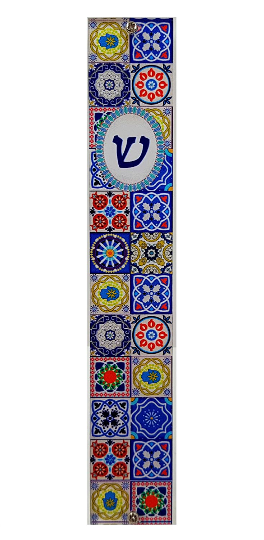 Talisman4U Jewish MEZUZAH CASE with Prayer Scroll Hebrew Parchment Multicolor Mosaic Design Art Judaica Gift Door Mezuza Made in Israel 5 22878