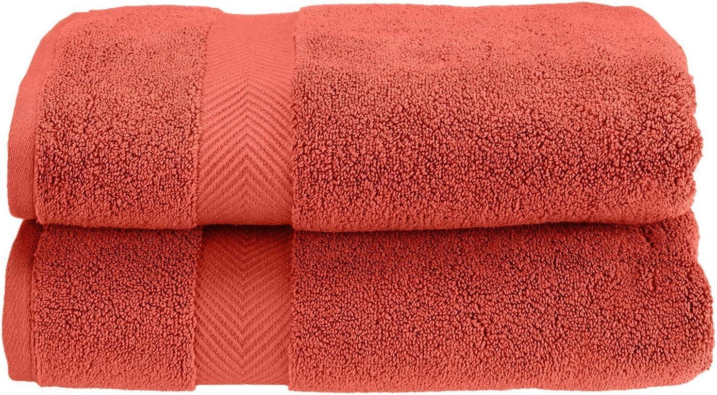 SUPERIOR Zero Twist 100% Cotton Towel Set - 2-Piece Set, Extra Soft Bath Towels, Long-Staple Cotton Towels, Coral