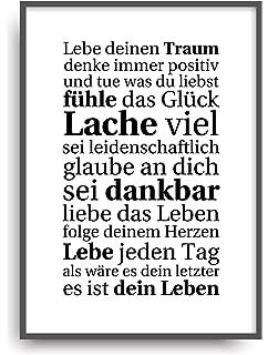 Kunstdruck Poster Mit Spruch Glücklich Sein Typografie Bild Auf