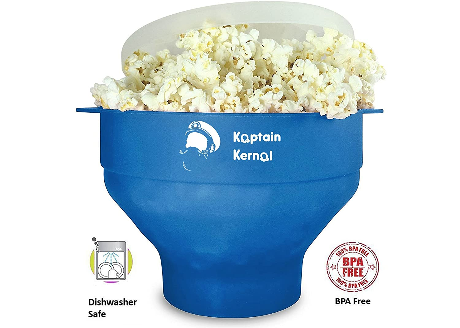 Kaptain Kernel Microwave Popcorn Popper, Collapsible Silicone Bowl, Hot Air Popcorn Maker, Healthy Machine No Oil Needed, BPA Free With Lid AND Convenient Handles (Blue); Designed in Canada GYK Creations