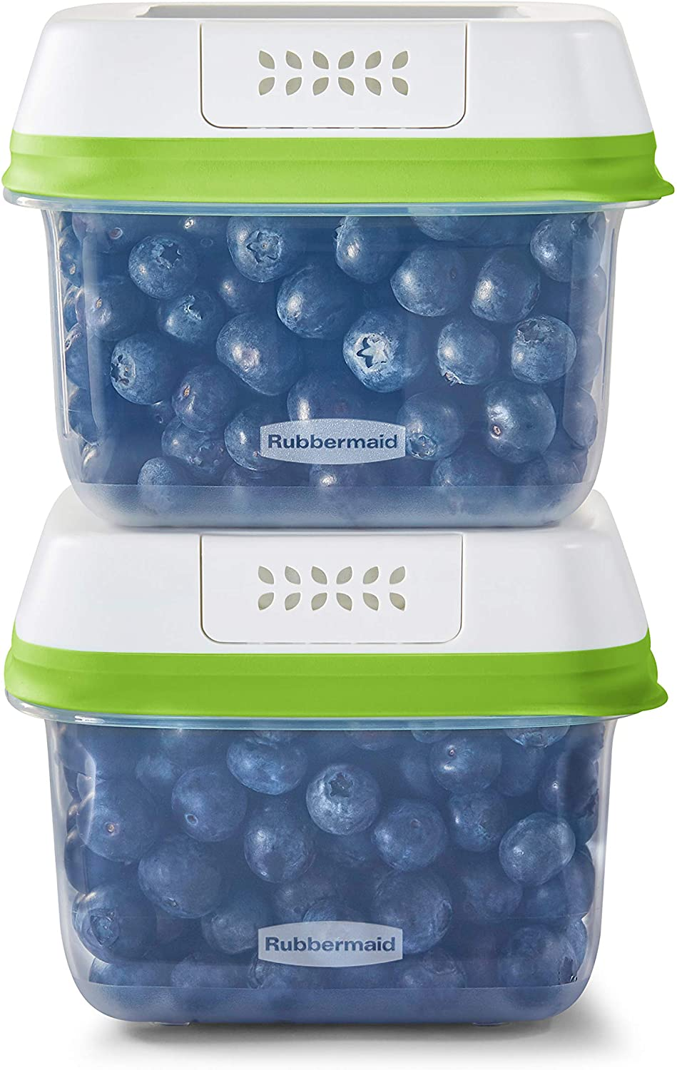 Rubbermaid 2114738 FreshWorks Saver, Medium Short Produce Storage Containers, 2-Pack, 4.6 Cup, Clear