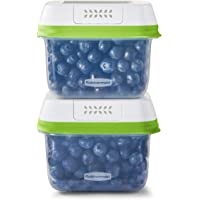 Rubbermaid FreshWorks Saver, Medium Short Produce Storage Containers, 2-Pack, 4.6 Cup, Clear