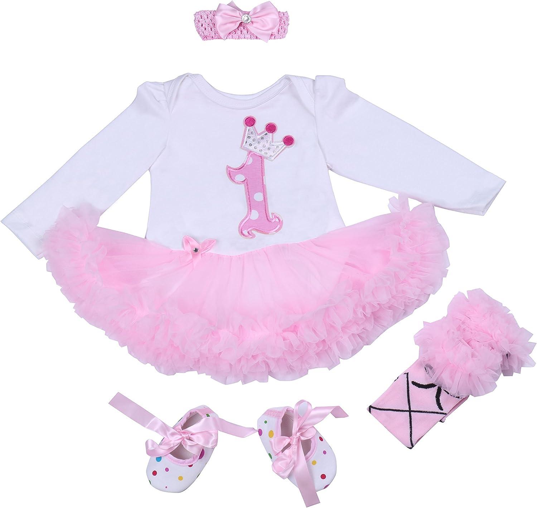 BabyPreg/® B/éb/é Filles 4PCs Couronne Motif 1/ère Anniversaire Tutu Robe Bandeau Chaussures