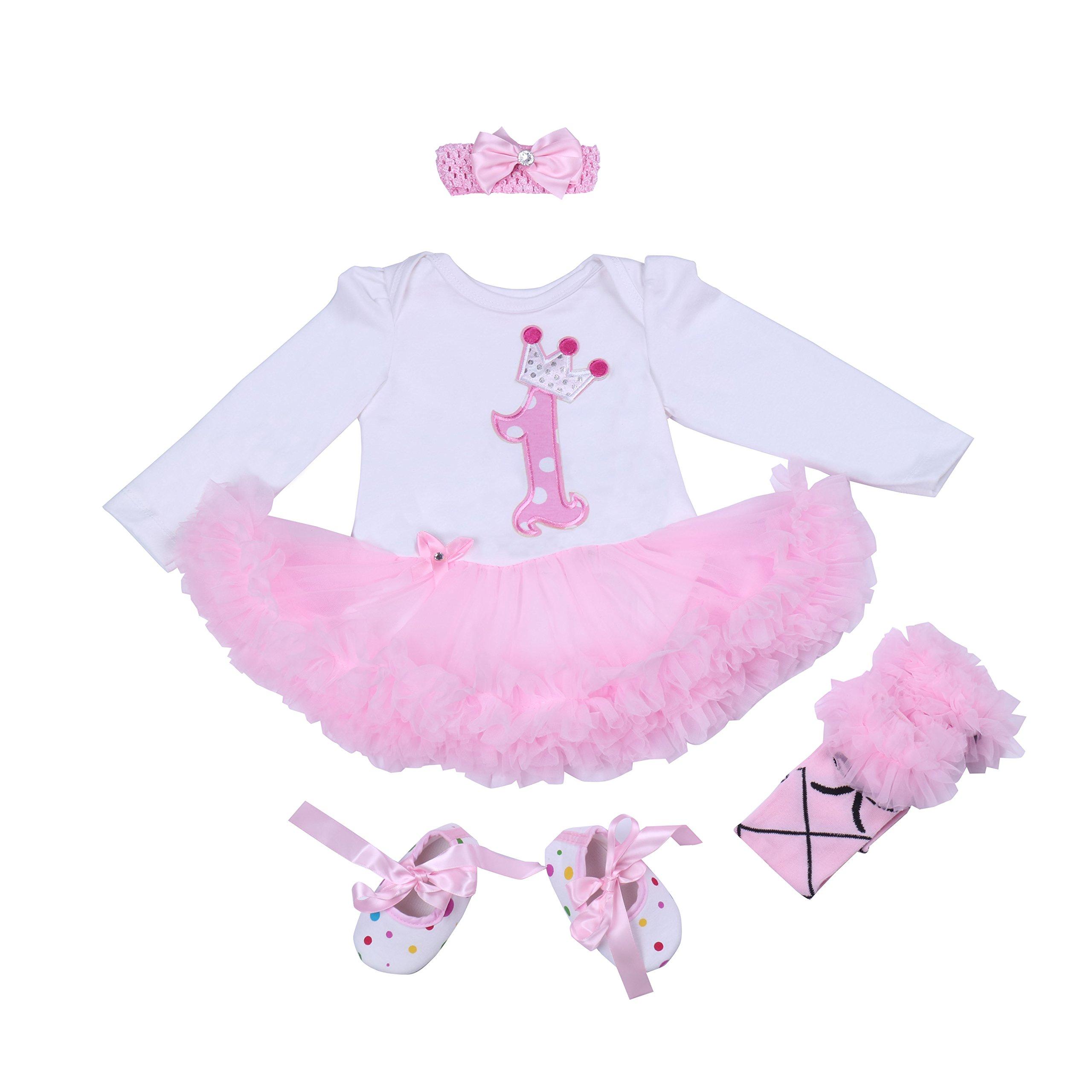 BabyPreg® Bebé Niña 4pcs Corona Patrón de Primer cumpleaños para Vestido de tutú, Diadema