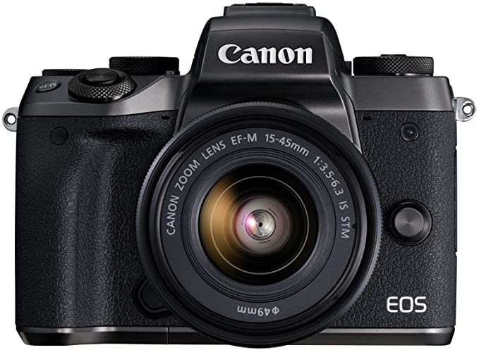 Canon EOS M5 Mirrorless Camera Kit 15-45mm Lens Kit Wi-Fi Enabled and Bluetooth (Black) Point & Shoot Digital Cameras at amazon