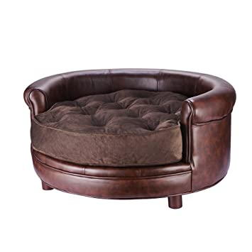 Amazoncom  Villacera Chesterfield Faux Leather Large Dog Bed