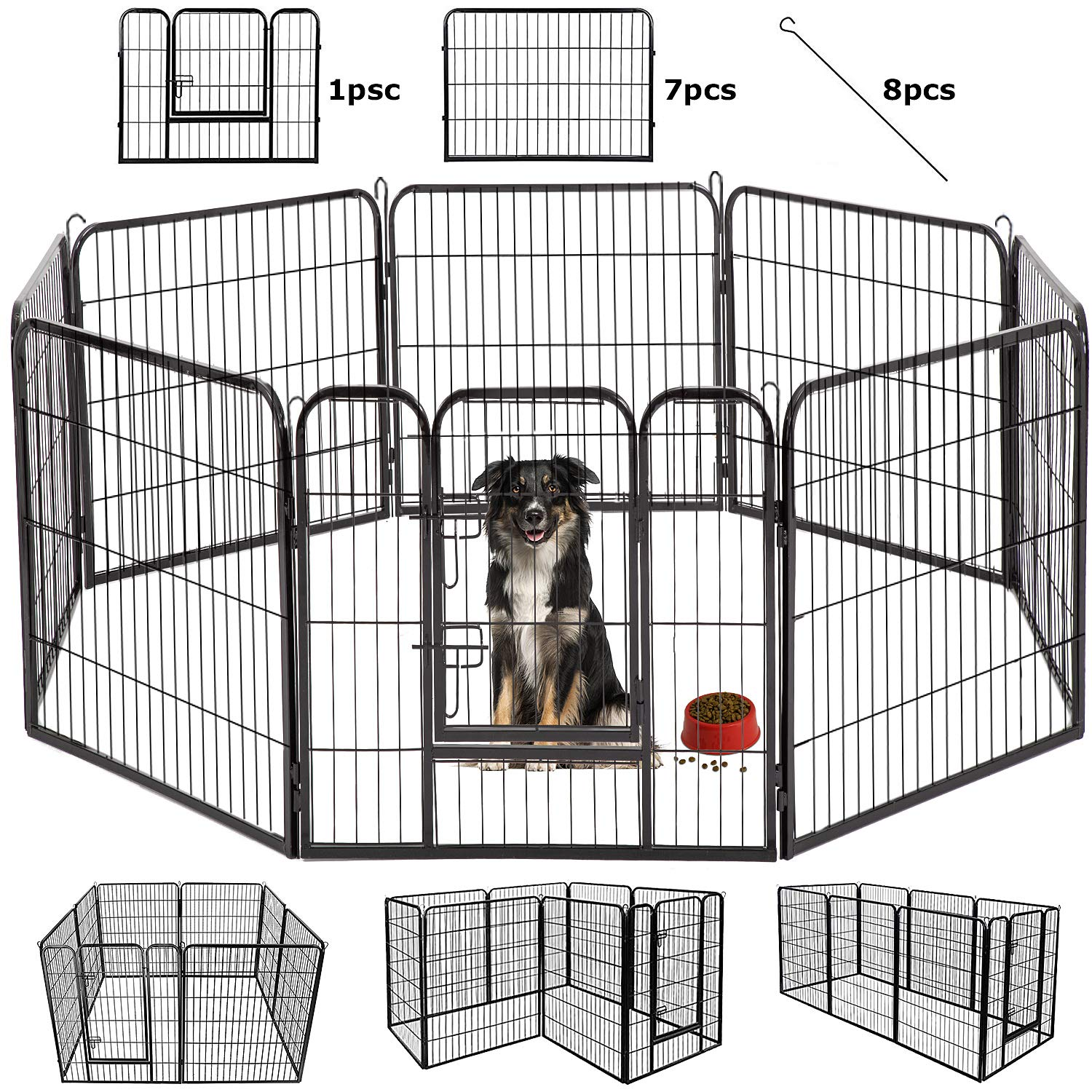BestPet Outdoor/indoor 40 Inches Metal Dog Pen Dog Fence Playpen Extra Large Exercise Pen Dog Crate Cage Kennel Black by BestPet