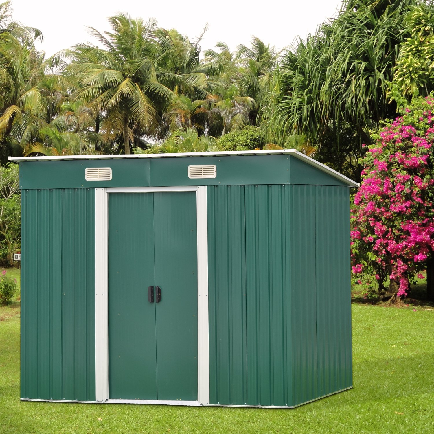 Kinbor 6' x 4' Outdoor Steel Garden Storage Utility Tool Shed Backyard Lawn Tool House Garage Kit Building w/Door (Green)