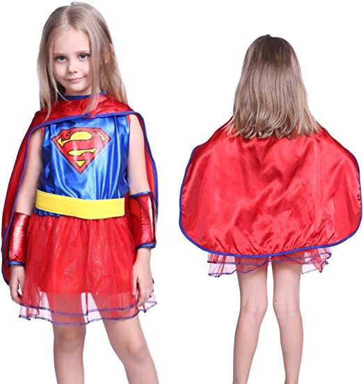 Anladia - Disfraz de Supergirl Cosplay Dress SuperMan para niña ...