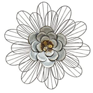 Stratton Home Decor S07658 Galvanized Daisy Wall Decor, Silver