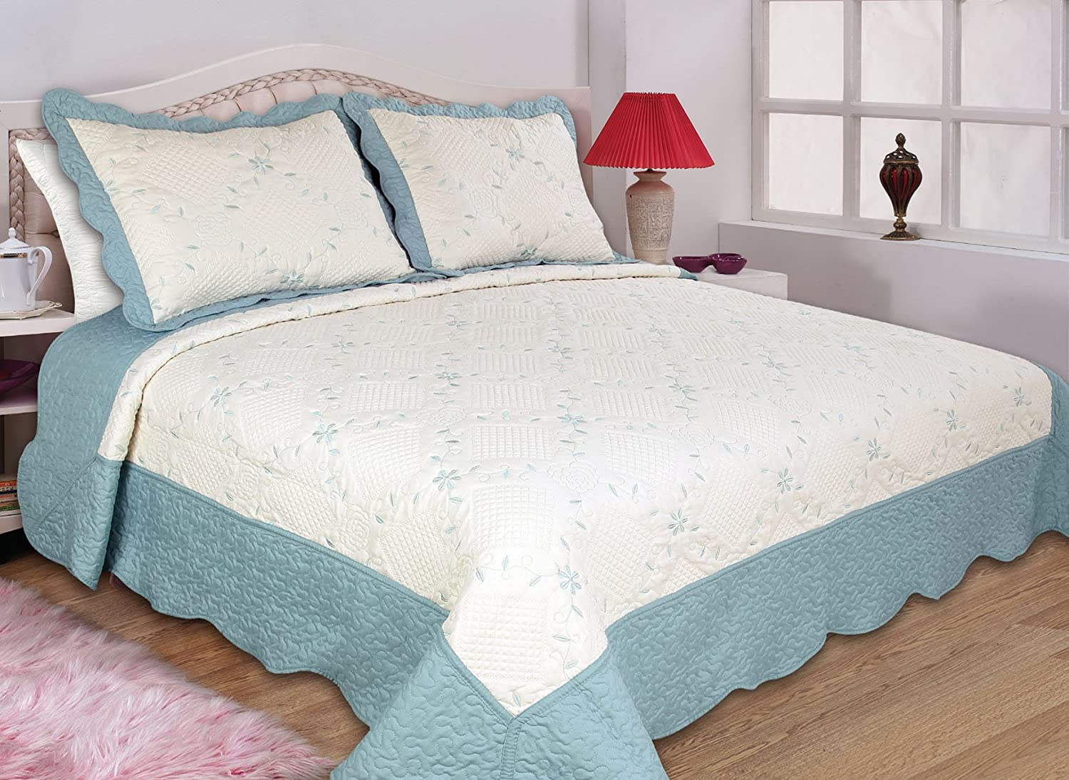 3-piece Reversible Bedspread/ Coverlet / Quilt Set (aqua, full/queen