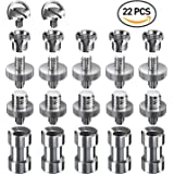 "Muscccm 22 Pcs Camera Screws Adapter Converter Pack(1/4""male to 1/4""male, 1/4"" male to 3/8"" male,1/4"" female to 3/8"" male Threaded Screw,1/4"" female to 3/8"" female Adapter,2 pcs1/4"" D-ring Screw)"