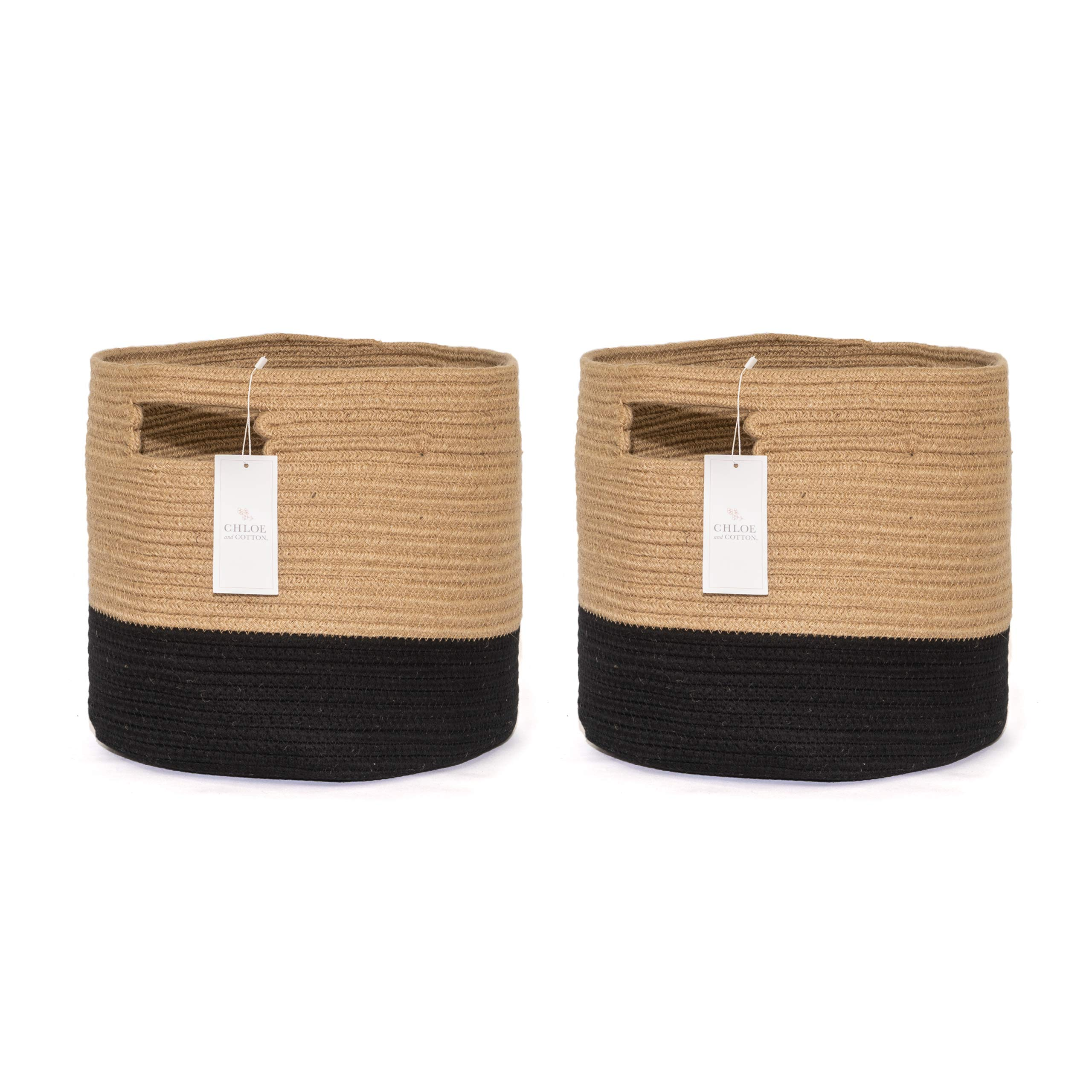 Chloe and Cotton Woven Fabric Cube Storage Baskets Jute Black with Handles | Set of 2 | Cute Decorative Bins Containers Organizers For Cubes, Shelves, Bookcases, Cubbies, Organizing Containers by Chloe and Cotton