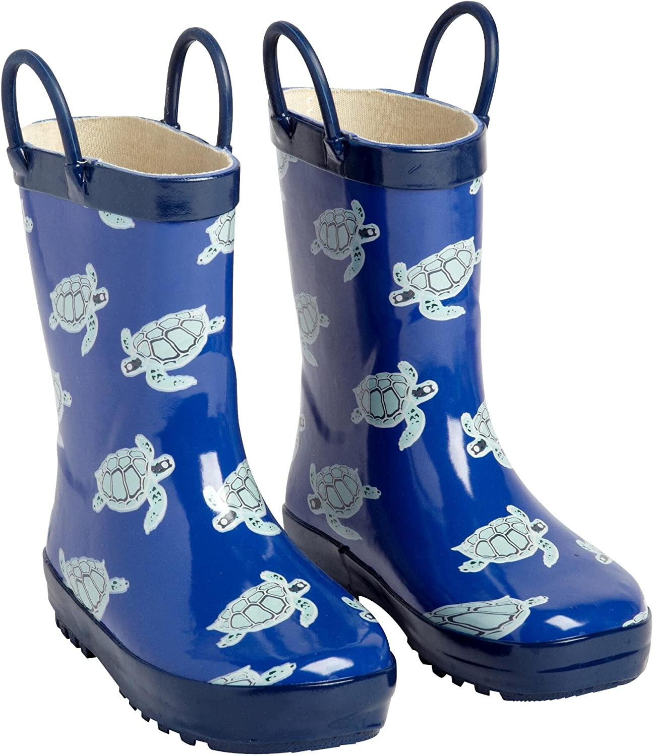 Lilly of New York Toddler Blue Turtle Pattern Rubber Rain Boots with Easy-On Handles