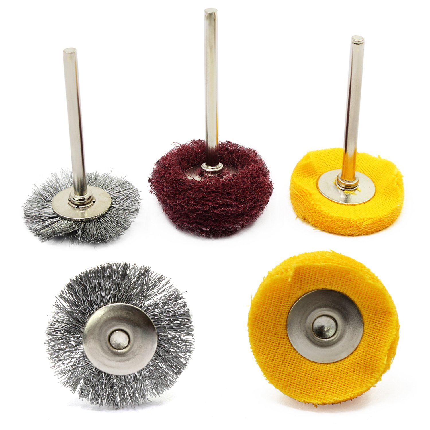WiMas 30PCS Polishing Pad Abrasive Buffing Wheel Brushes Mixed Set Steel Wire Brush Wool Wheels for Dremel Rotary Tool by WiMas (Image #4)