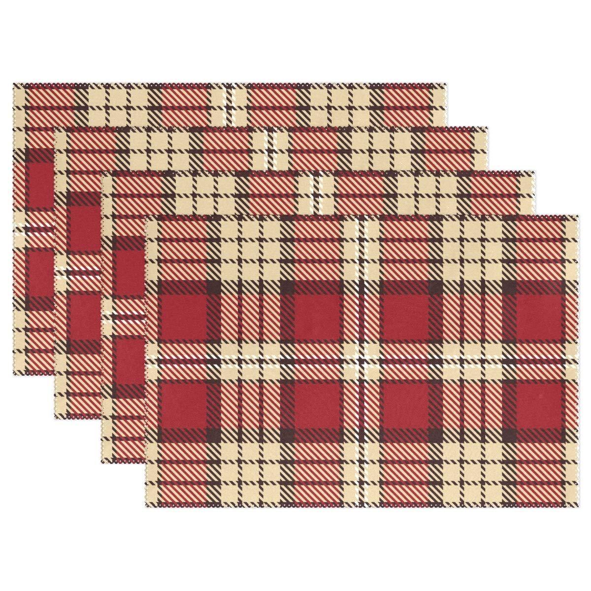 Jereee クリスマス 赤 ベージュ 格子柄 1セット プレースマット 耐熱 テーブルマット 洗濯可能 汚れにくい 滑り止め ポリエステル プレースマット キッチン ダイニング デコレーション Set of 4 g11030460p145c160s239 Set of 4 マルチカラー B07JPH1NDX