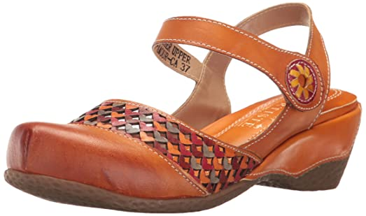 L'Artiste by Spring Step Women's Amour-Ca Wedge Sandal, Camel, 35