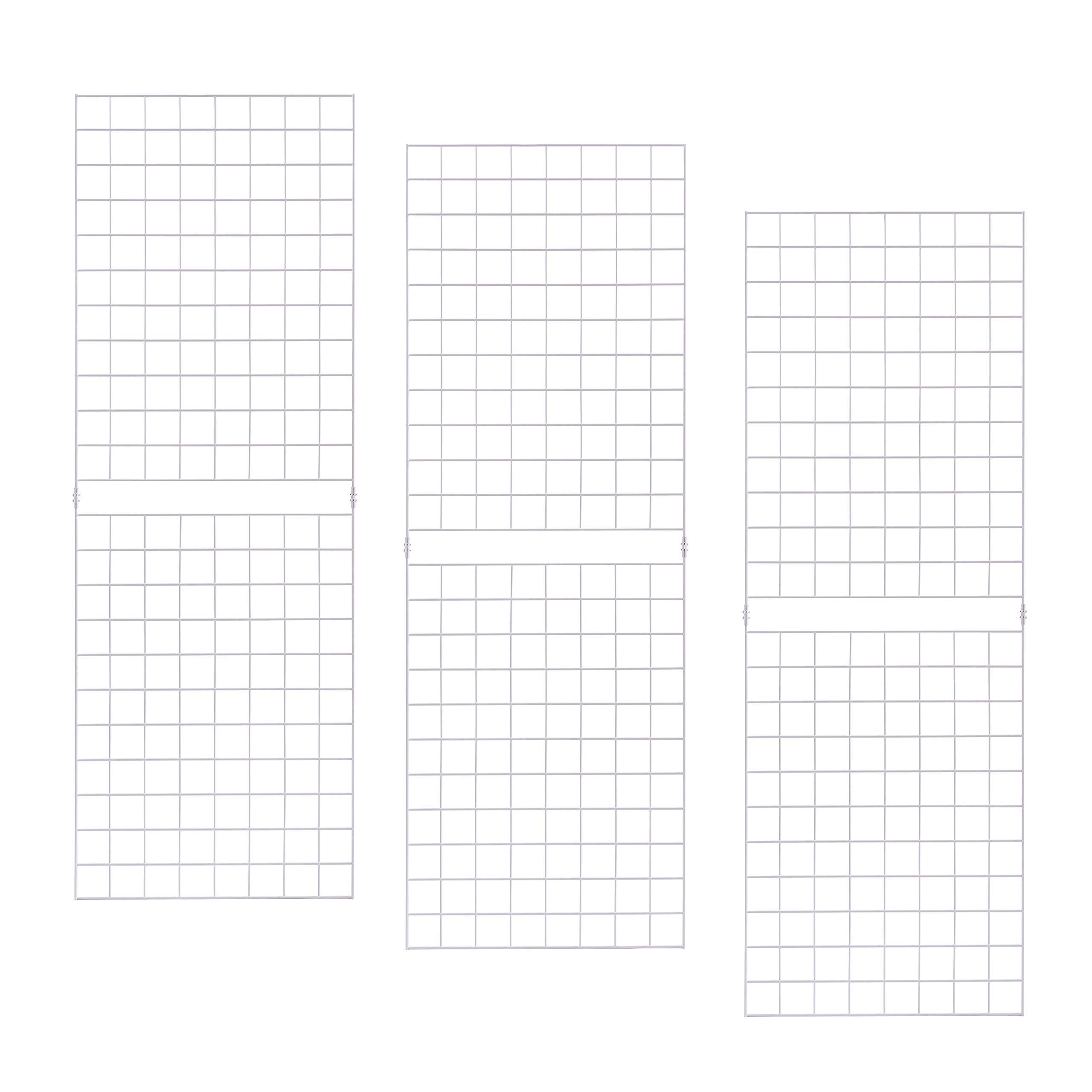 Grid Panels - Econoco Durable Grid Shelves - Portable Fixtures for Art, Retail Display, or Home Storage- 2 ft x 6 ft - Pack of 3 (White)