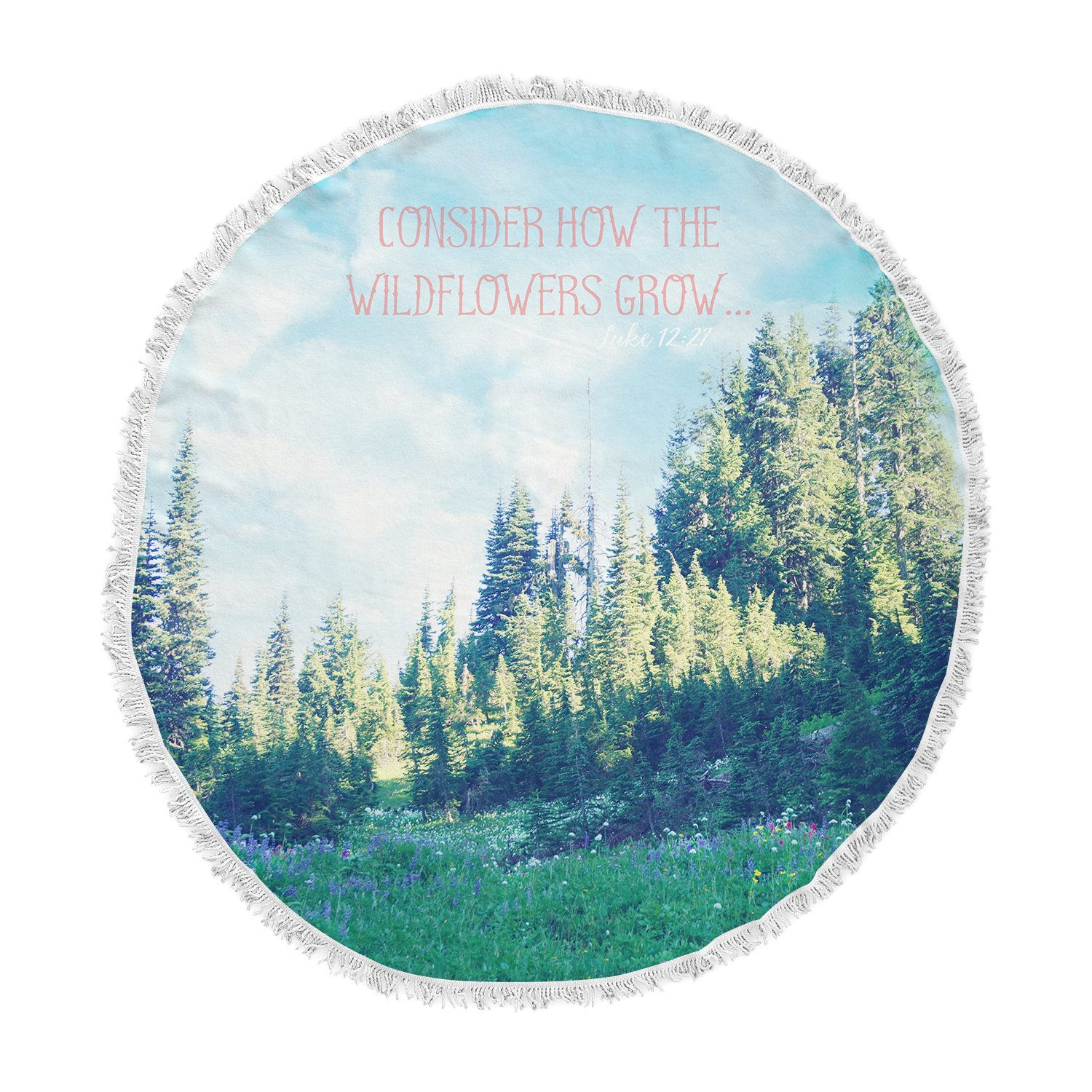 Kess InHouse Robin Dickinson Consider The Wildflowers Blue Green Nature Typography Photography Round Beach Towel Blanket