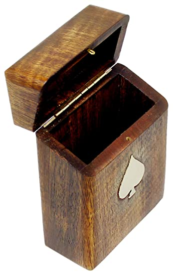 SKAVIJ Playing or Poker Card Case for 1 Deck Handmade Wooden box