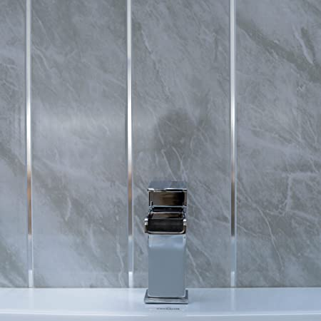 Merveilleux Grey Marble Bathroom Wall Panels Splashbacks With Chrome Silver Strips, Cladding  Panels Splashbacks Used In