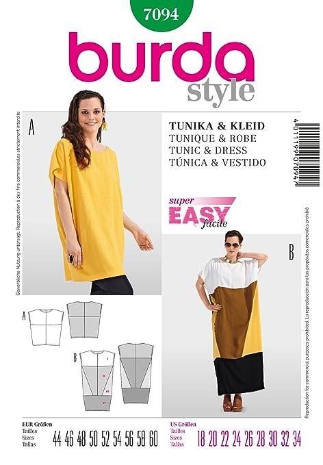 Burda Ladies Easy Sewing Pattern 7094 - Loose Fitting Tunic & Dress ...