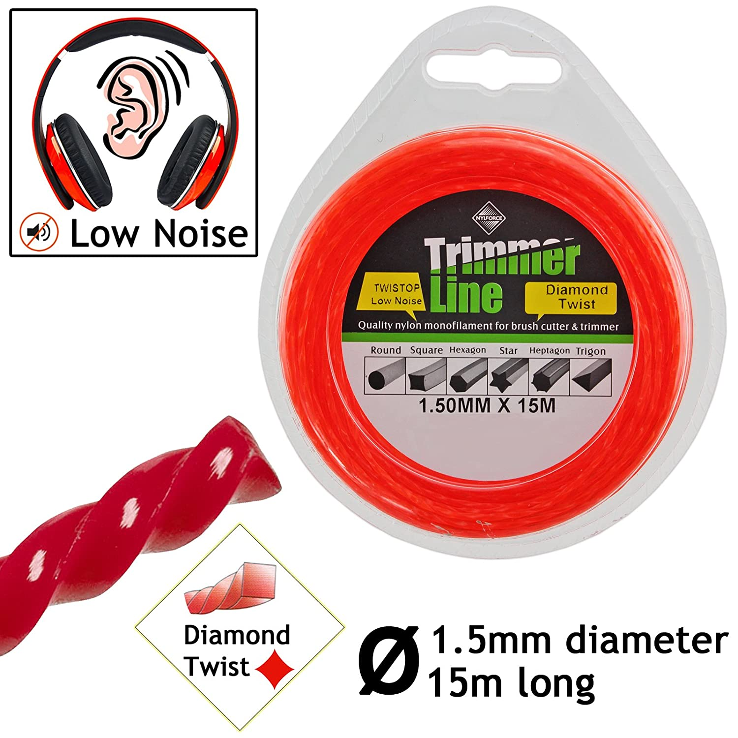 ALM Tough Nylon Strimmer Trimmer Line Wire Trimmer Line Grey 1.5mm x 25m UK Made