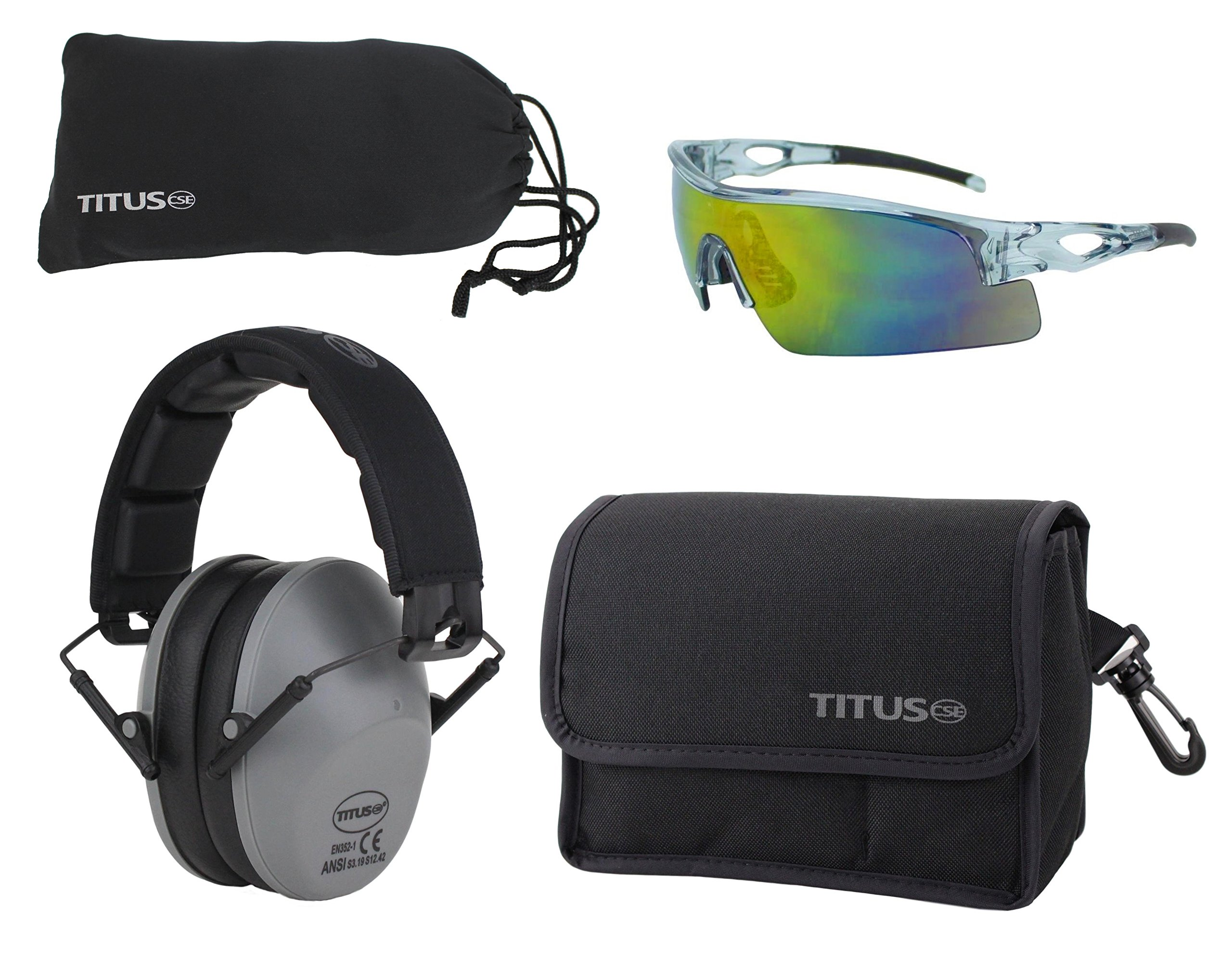 Titus TOP Slim-Line Safety Glasses and Earmuff Combos (Grey, G21 Full-Spectrum Mirrored w/All-Sport Frame)