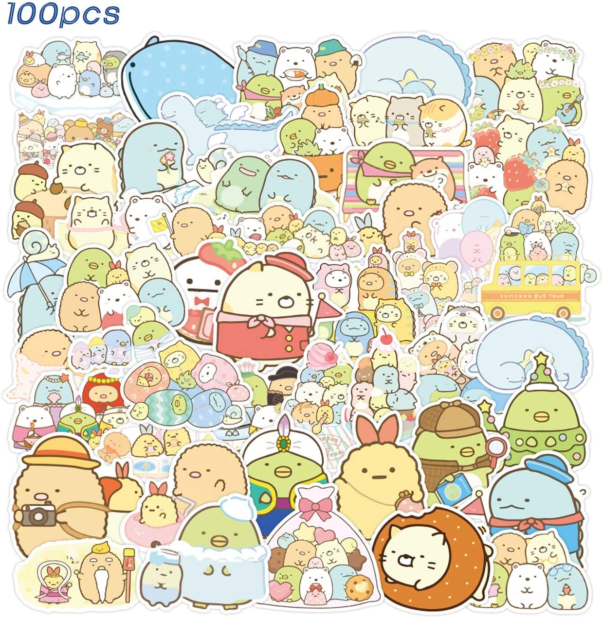 SPIRO 100pcs Sumikk_o Gurashi Sticker Cute Cartoon Stickers Vinyl Waterproof Stickers for Kids Teens Adults Laptop Water Bottles Skateboard Birthday Party Supplies