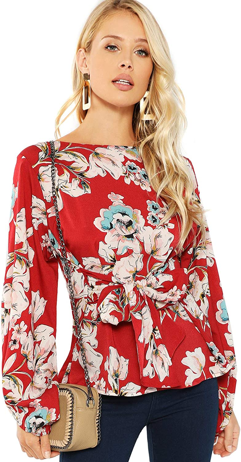 Floerns Women's Casual Long Sleeve Floral Print Blouse Tops