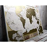 MyMap Deluxe Large World Scratch Off Map w/ EnLarge Europe and Caribbeans Map   35 x 25 inc Push Pin Travel Map To Mark 10.000 Cities    Anniversary Birthday Idea