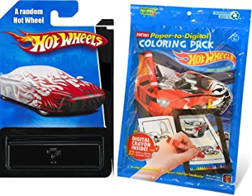 Hot Wheels Coloring Book Pack 32 Paper To Digital Pages With Crayon