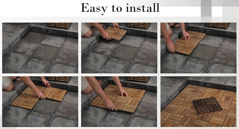 Bare decor bare wf2009 solid teak wood interlocking flooring tiles ...