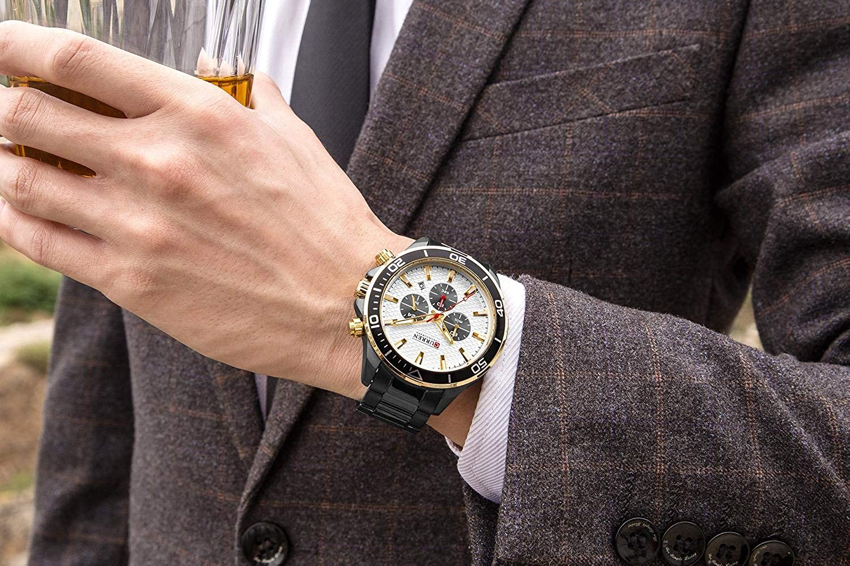 Montres Hommes,Grand Cadran Étanche Montre À Quartz Calendrier Montre d'affaires Décontractée Black Shell Gold Ring Black Face