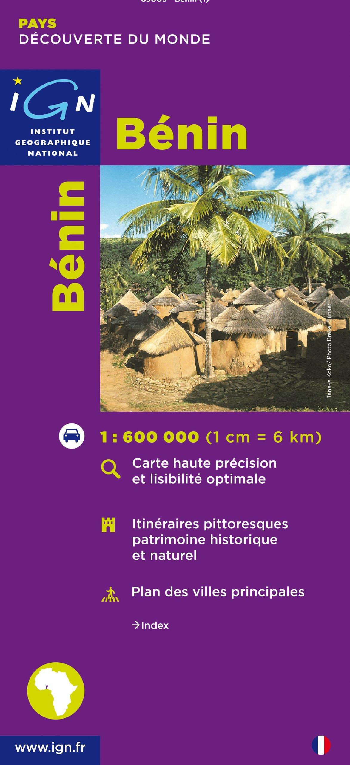 République du Bénin 1 : 600 000: Carte touristique. Découverte des pays du monde. Carte haute précision et lisibilité optimale. Itinéraires ... villes principales (Pays et Villes de France)