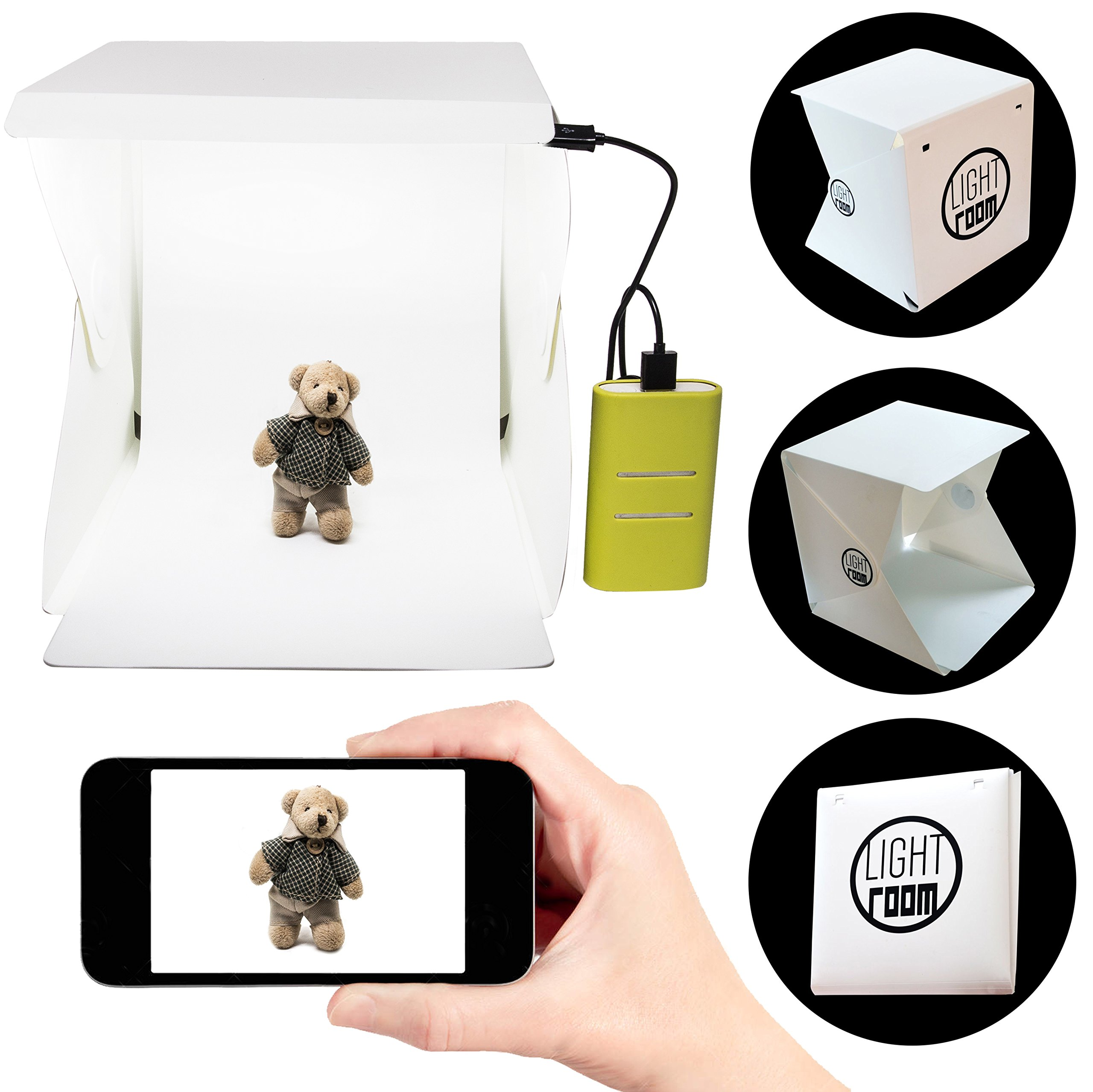 Portable Photography Studio 9 Inch - Mini Photo Studio Lightbox Product Photography Kit w/ LED Lights + Black & White Backdrop + 3ft USB Cord (Photo Box Light Tent)