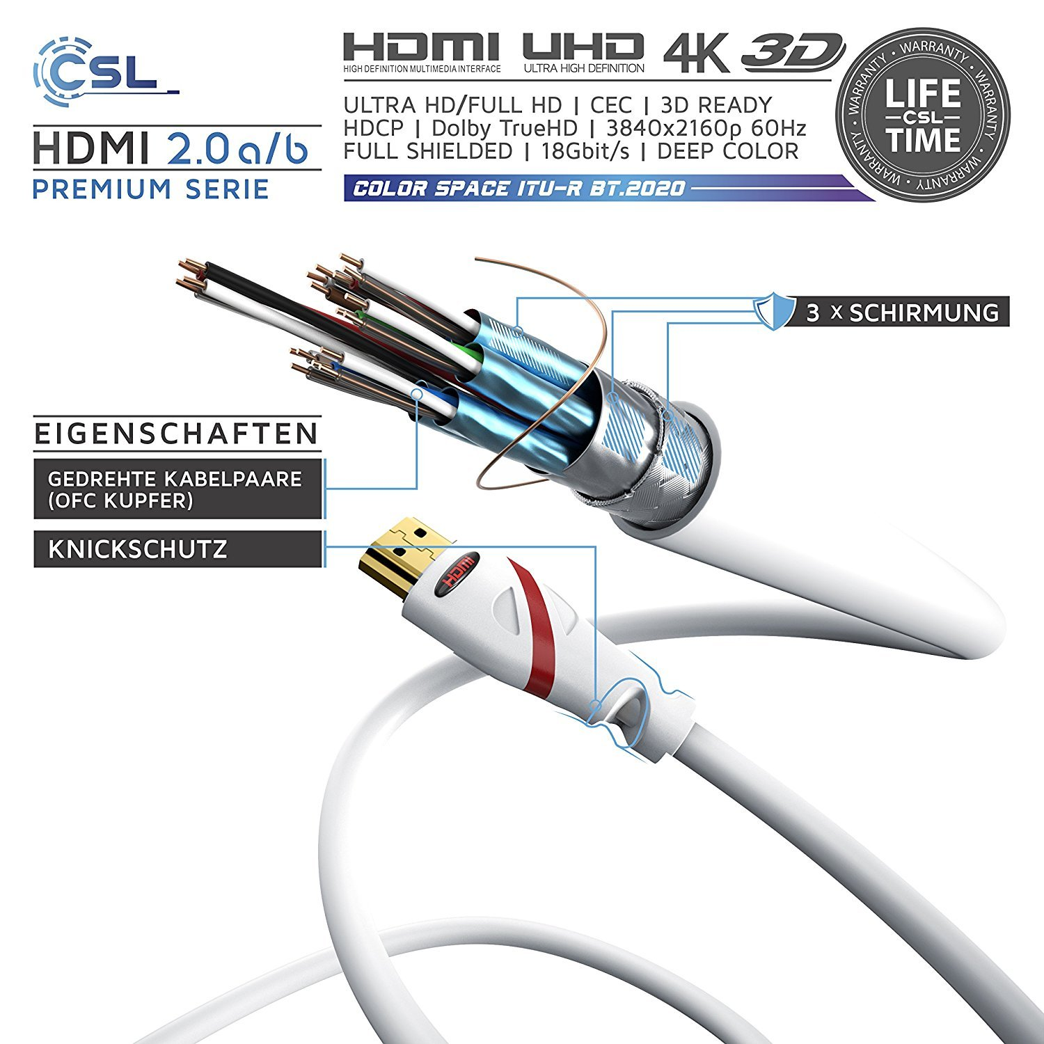 CSL - 1,5m Cable de HDMI - Ultra HD 4k HDMI | Alta Velocidad con Ethernet | Full HD 1080p / 4K Ultra HD 2160p / 3D / ARC y CEC ...