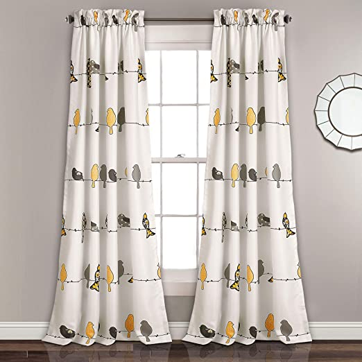"""Lush Decor Rowley Birds Room Darkening Window Curtains Panel Set for Living  Room, Dining Room, Bedroom (Pair), 84"""" x 52"""", Yellow and Gray"""