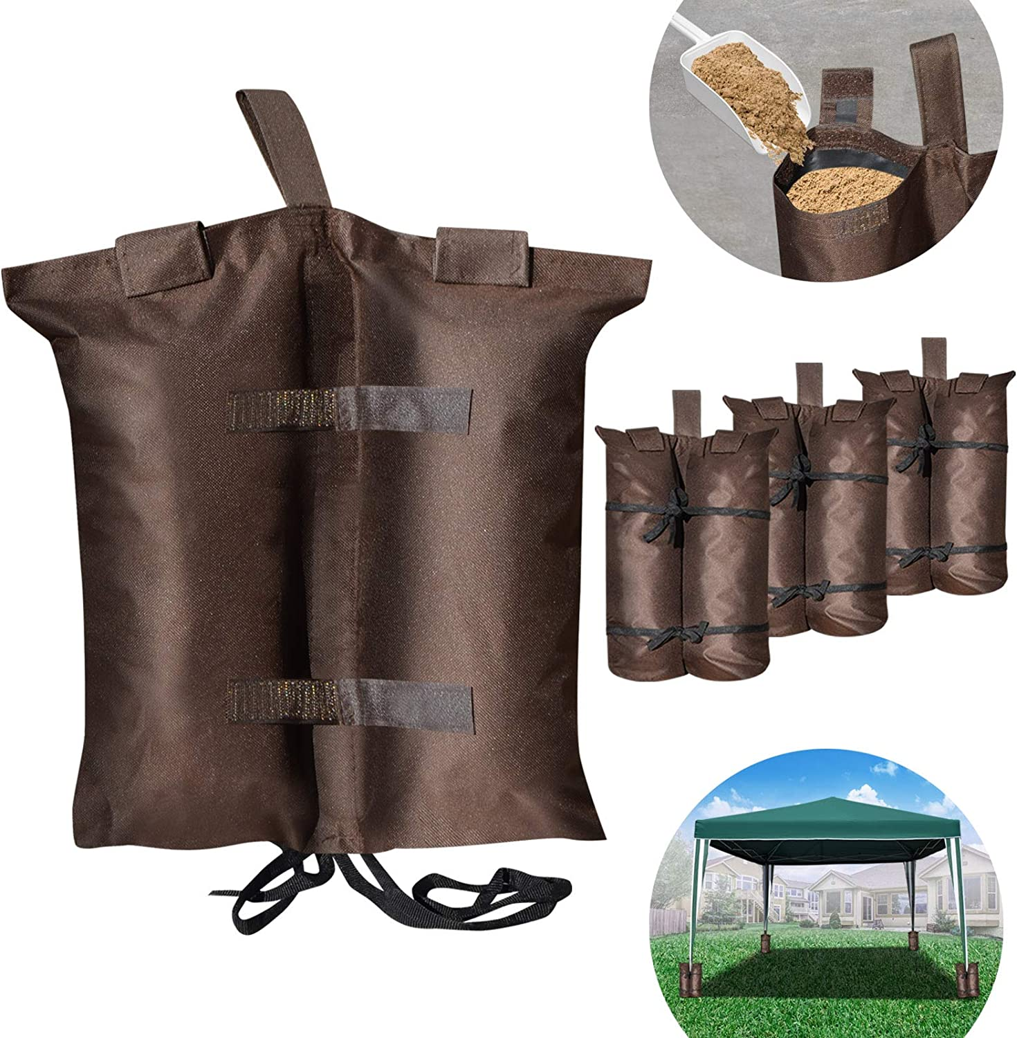 BenefitUSA Weights Bag, Leg Weight for Pop up Canopy Tent Sand Bag 4 Pack Weighted Feet Bag 15.7 L x 15.3 H , Brown