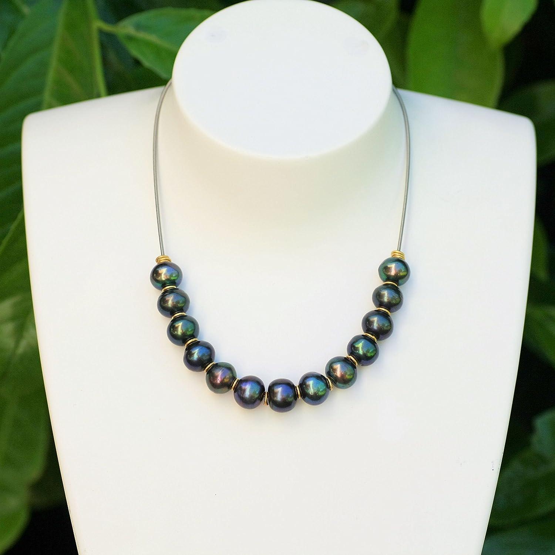 Neuheit - echte Perlenkette tahiti-schwarz groß e Sü ß wasserperlen Zuchtperlen Design Harmonie variable Lä nge 40-60 cm verstellbar Geschenk fü r sie handgefertigt