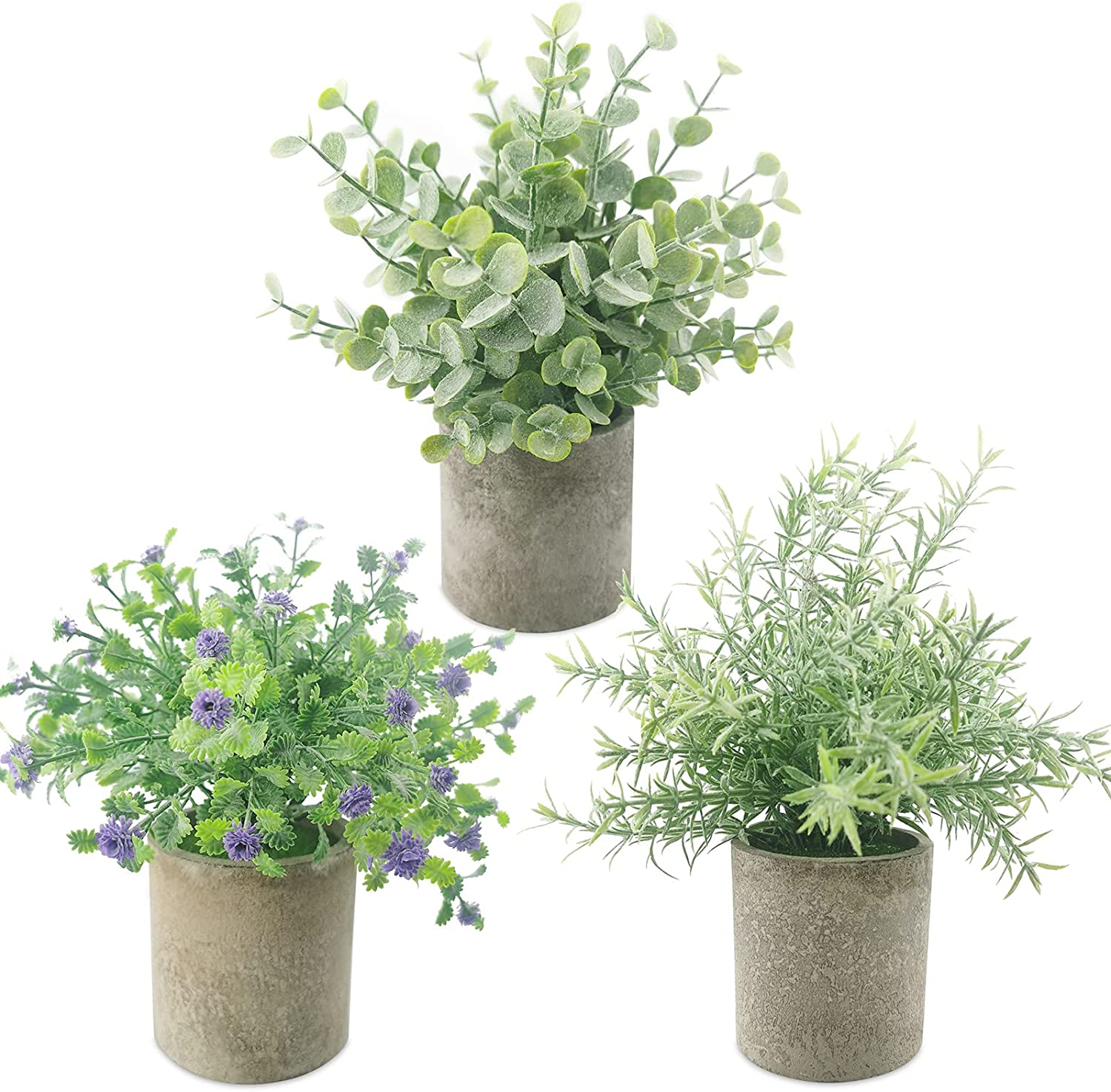 3 Pack Potted Fake Plants-Artificial Plants Potted with Green Oldenlandia Diffusa,Green Eucalyptus&Purple Gypsophila for Room Decor, Desk,in Office,Bedroom,Bathroom