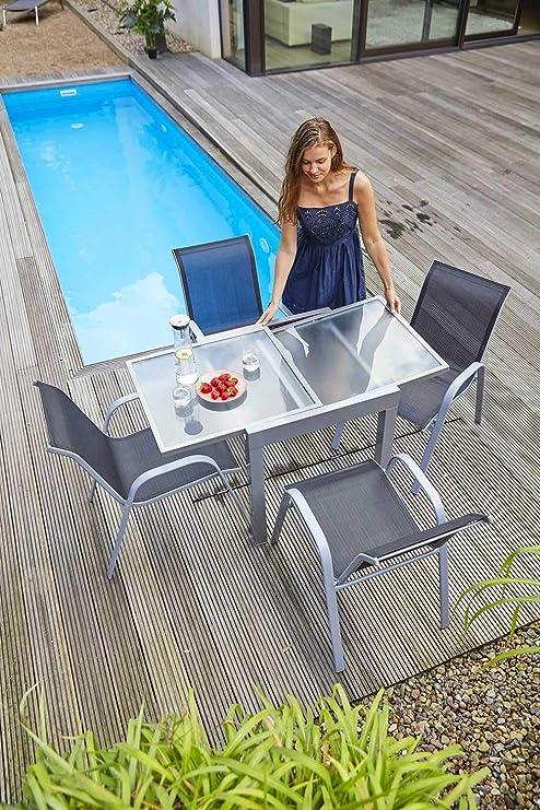 Ausziehtisch Gartentisch Terrassentisch 70x70 Cm Grau