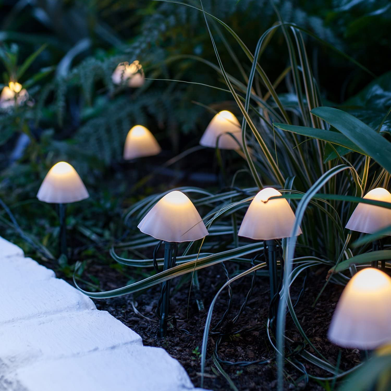 Lights4fun, Inc. Set of 12 Solar Powered Mini Mushroom Toadstool LED Outdoor Waterproof Garden Pathway Landscape Lights