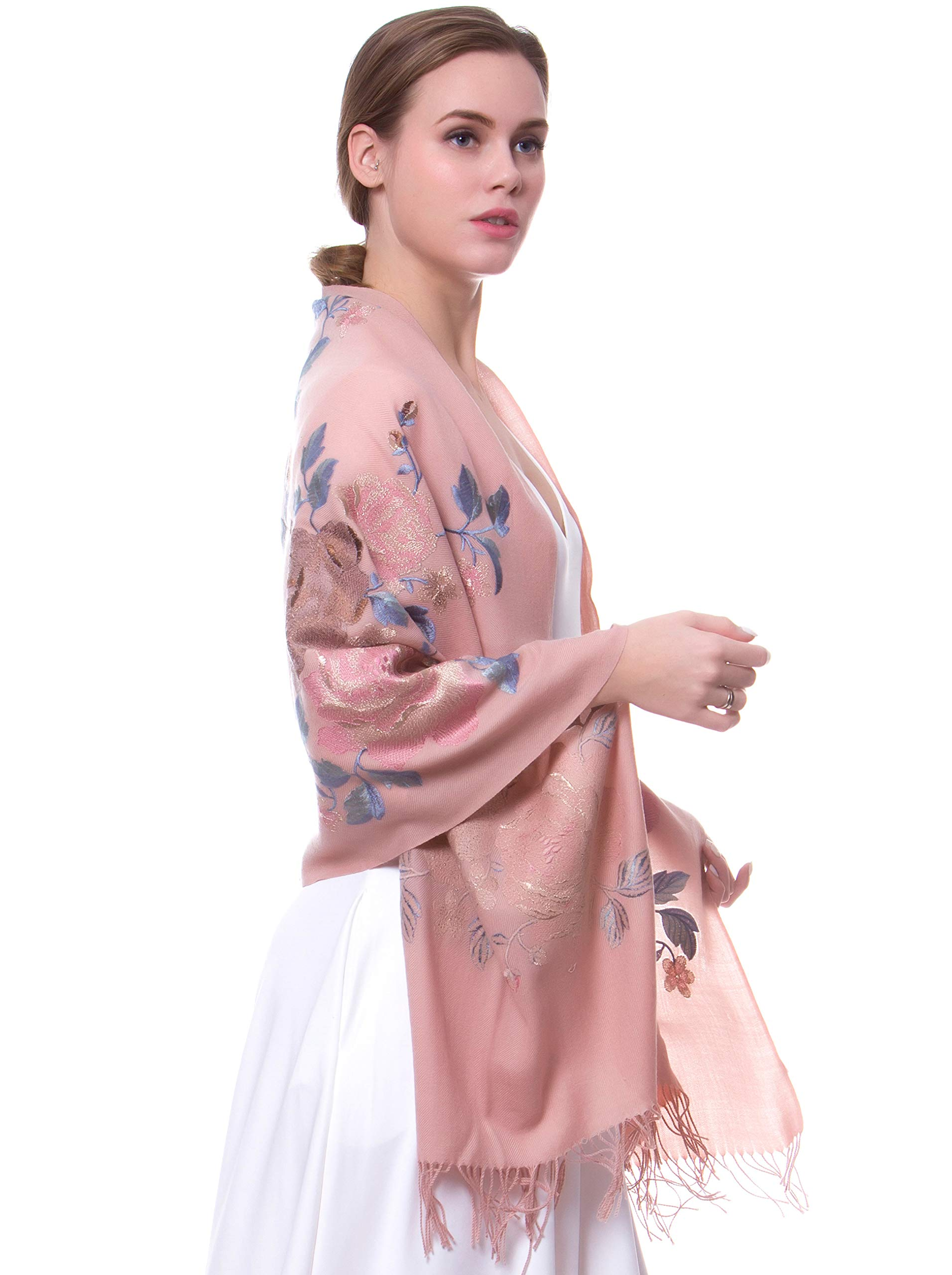 MORCOE Women's Top-class 100% Wool Delicate Embroidered Soft Long Floral Scarf Warm Wrap Party Wedding Shawl Gift … (Khaki)