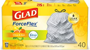 Glad Forceflex Tall Kitchen Drawstring Trash Bags, Citrus, 13 Gal, 40 Ct (package May Vary)