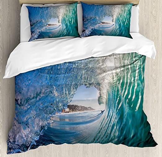 Ocean Decor Queen Size Duvet Cover Set by Ambesonne Large Powerful Pasific Surf Sea Wave Crashes Hard Decorative 3 Piece Bedding Set with 2 Pillow Shams