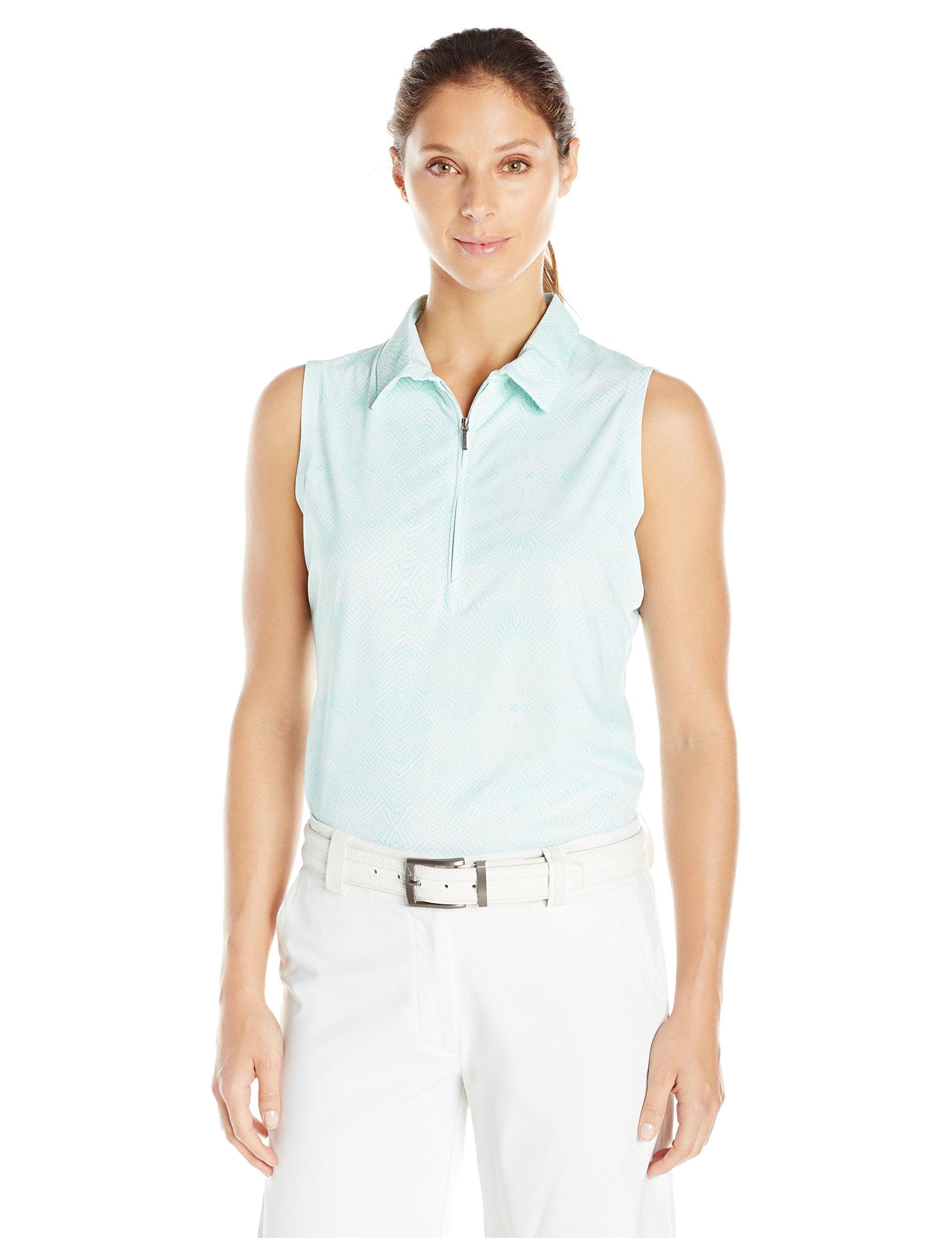 Cutter & Buck Women's Moisture Wicking, UPF 50+, Sleeveless Tess Printed Polo Shirt, Sea Glass, L by Cutter & Buck